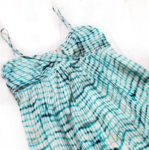 Ann Taylor Silk Blue White Tie Dye Tank Dress 10P